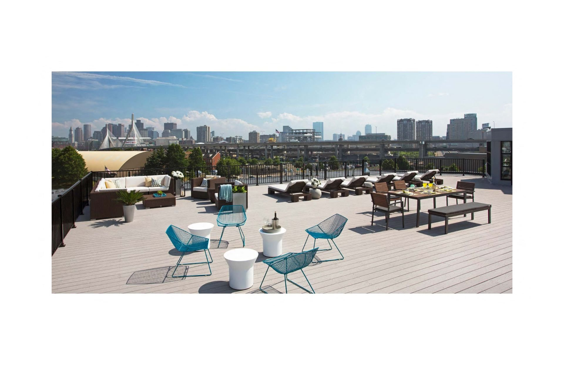 Rooftop Skydeck with Outdoor Living, Outdoor Kitchen with BBQ and alfresco dining, Outdoor Sundeck with Lounges at Gatehouse 75, Charlestown, 02129