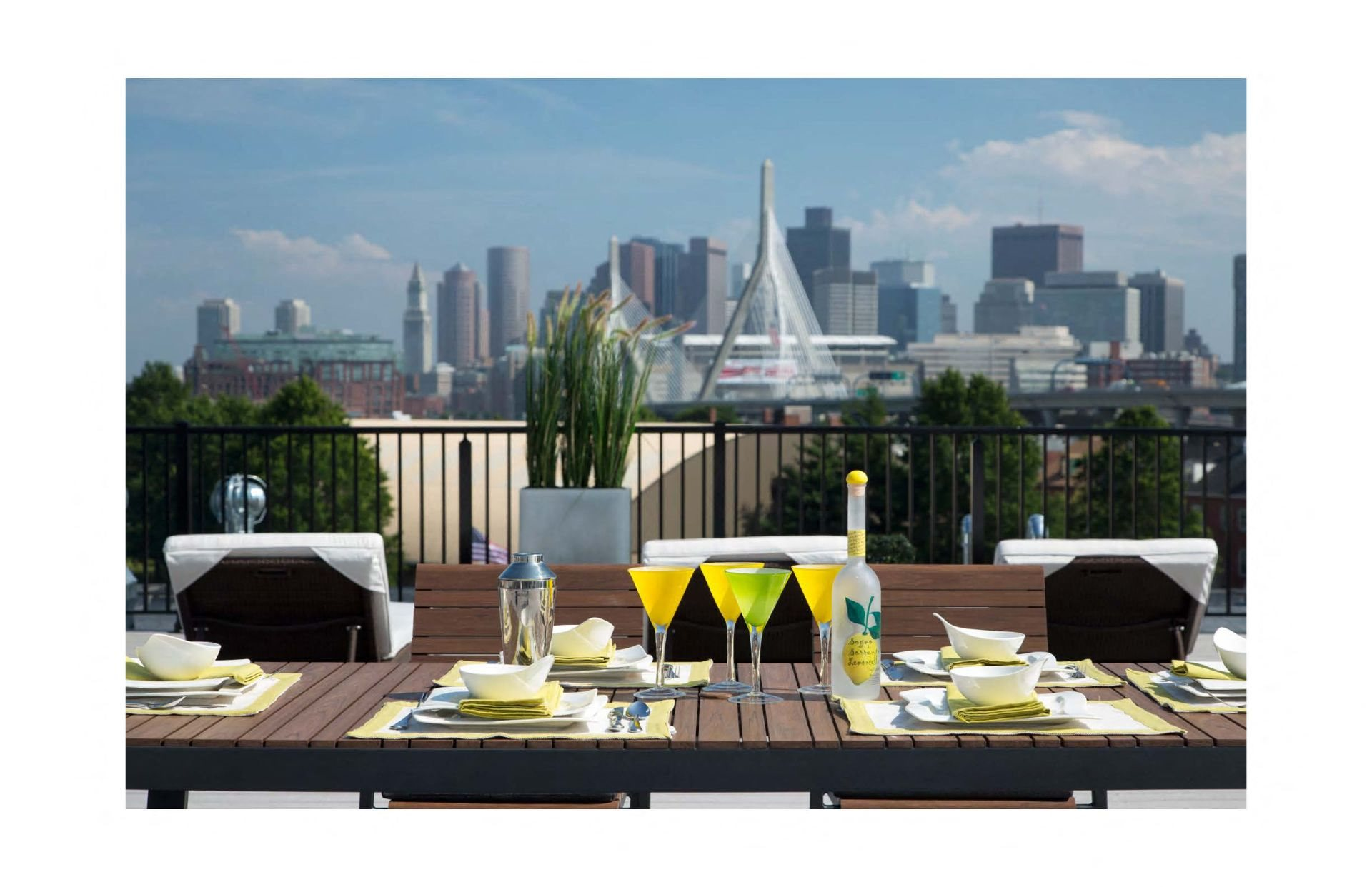 Rooftop Skydeck with Al Fresco Dining and  Stunning Views of Downtown Boston and Zakim Bridge at Gatehouse 75, Charlestown