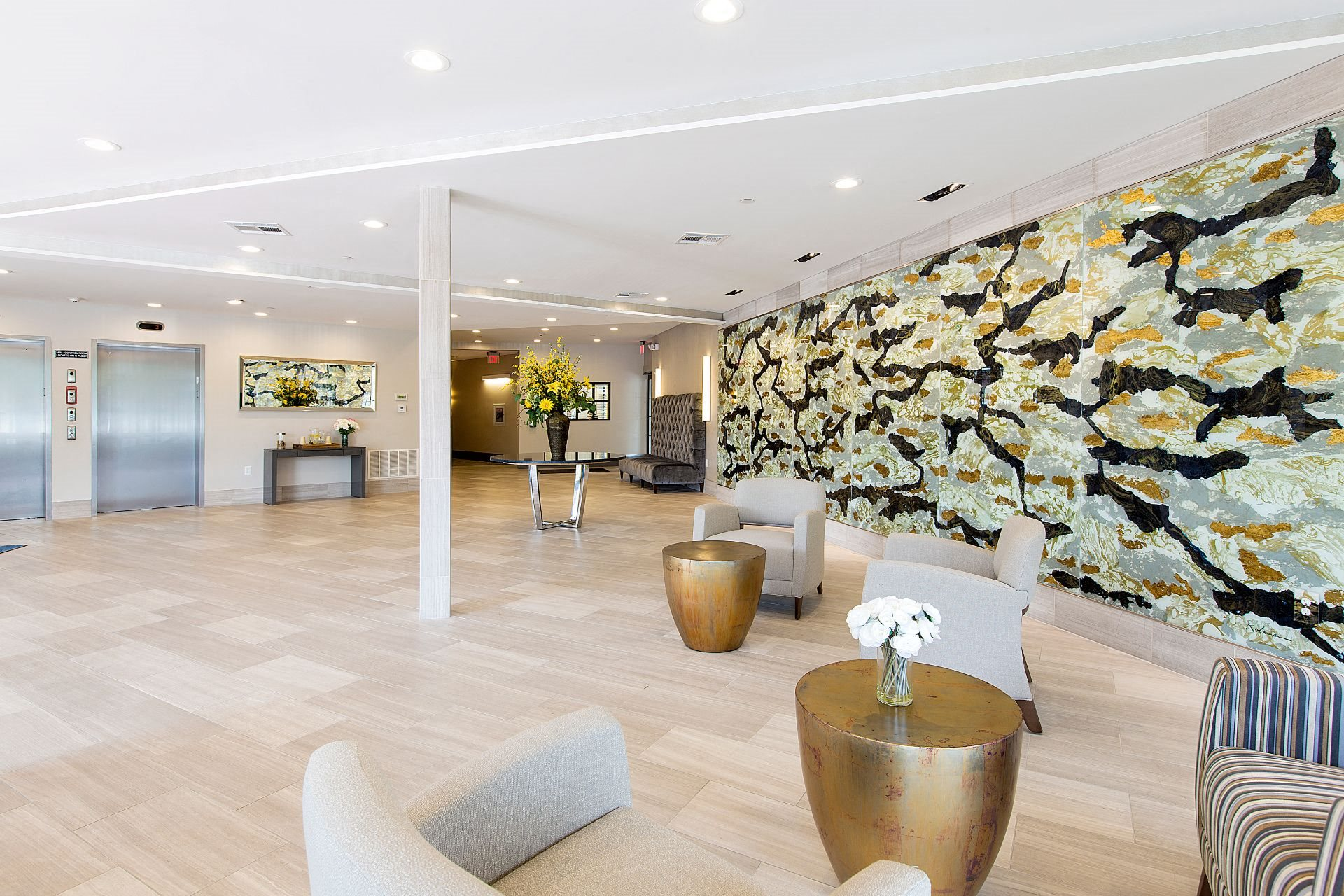 Hotel-Inspired Lobby Entrance with Elevators at Gatehouse 75, Charlestown