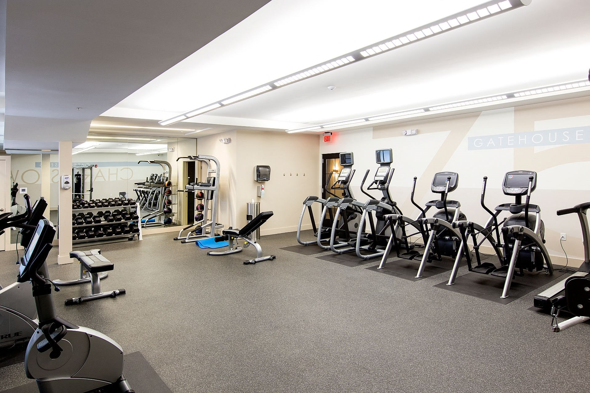 Fitness and Cardio Center with Treadmills, Elliptical Machines, Bikes and Free Weights at Gatehouse 75, Massachusetts