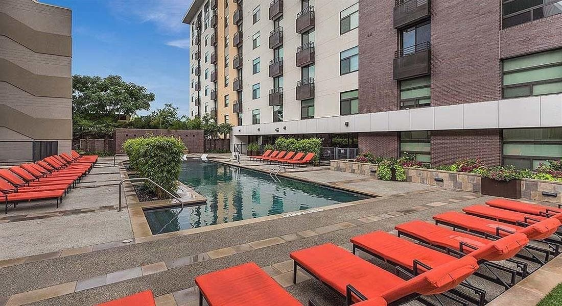 Poolside Lounge Area at Berkshire Riverview, Austin, TX, 78741