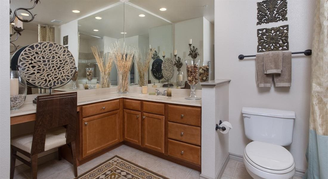 Master bathroom with floating vanities, quartz countertops, backlit vanity mirror, walk-in shower with Euro shower door and quartz-topped bench seat at Estancia Townhomes, Dallas, Texas