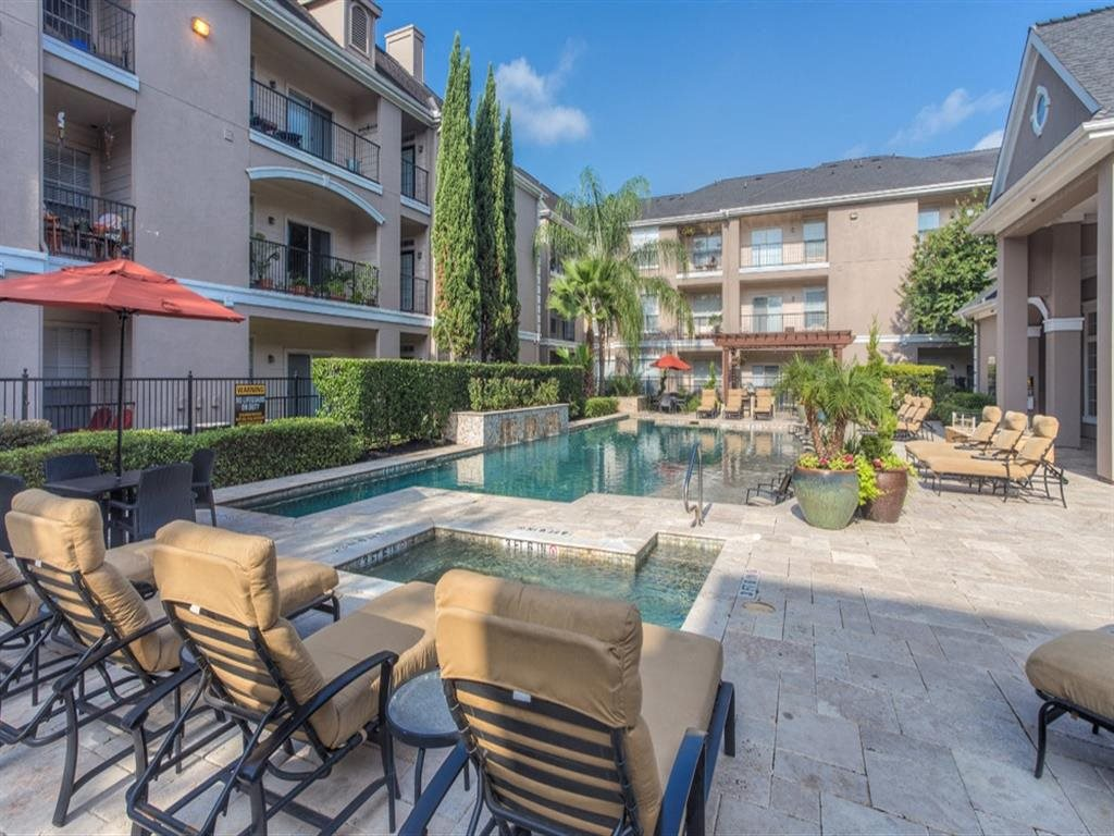 Poolside Lounge Area at Estates at Bellaire, Houston, TX