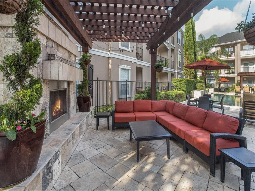 Outdoor Fireplace at Estates at Bellaire, Houston, Texas