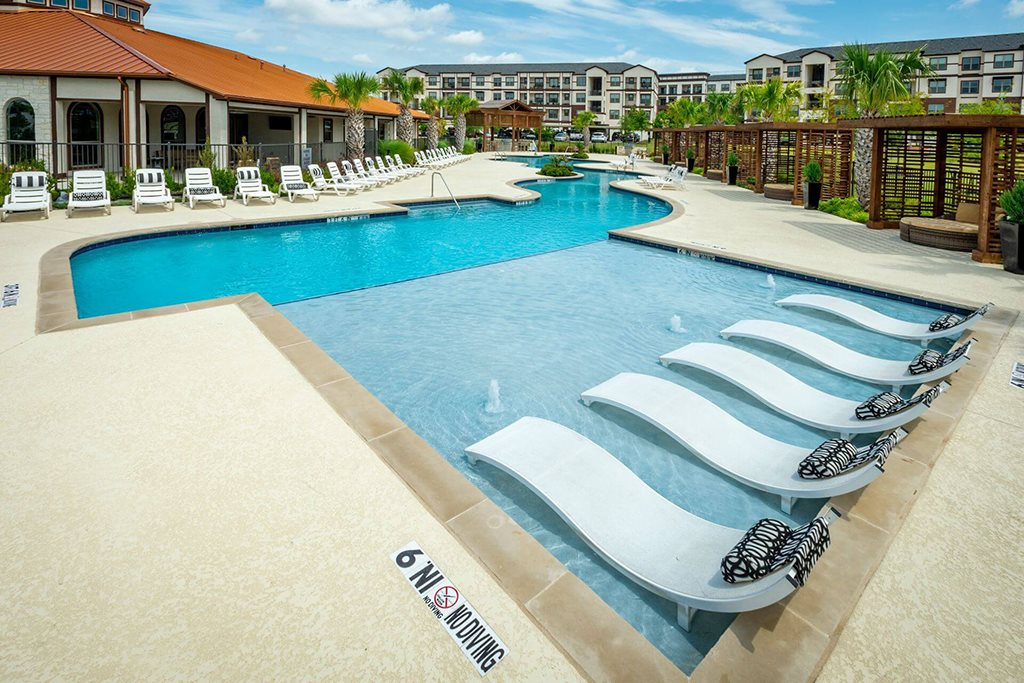 Poolside Relaxing Area at Berkshire Preserve, Garland, TX, 75044