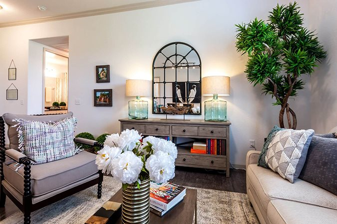 Modern Living Room at Berkshire Creekside, Texas, 78130