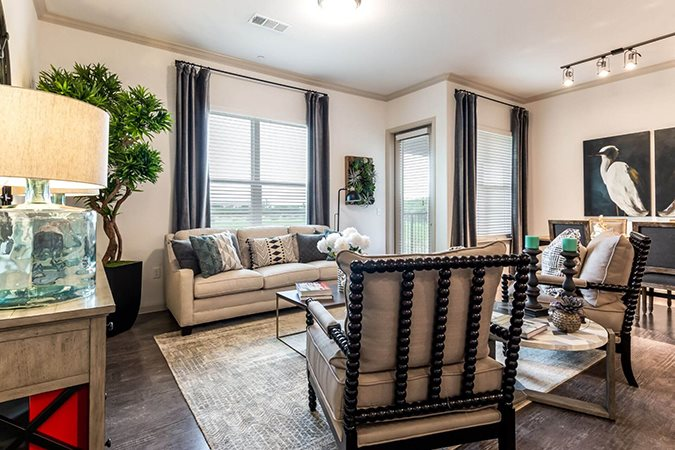 Trendy Living Room at Berkshire Creekside, New Braunfels, 78130