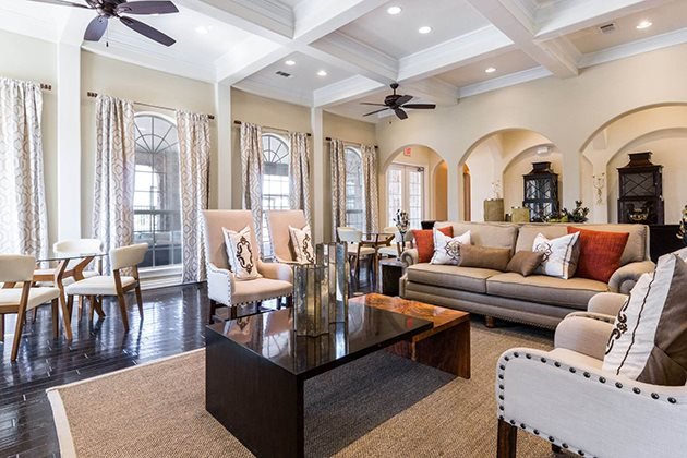 Posh Lounge Area In Clubhouse at Mansions at Briggs Ranch, San Antonio, 78245