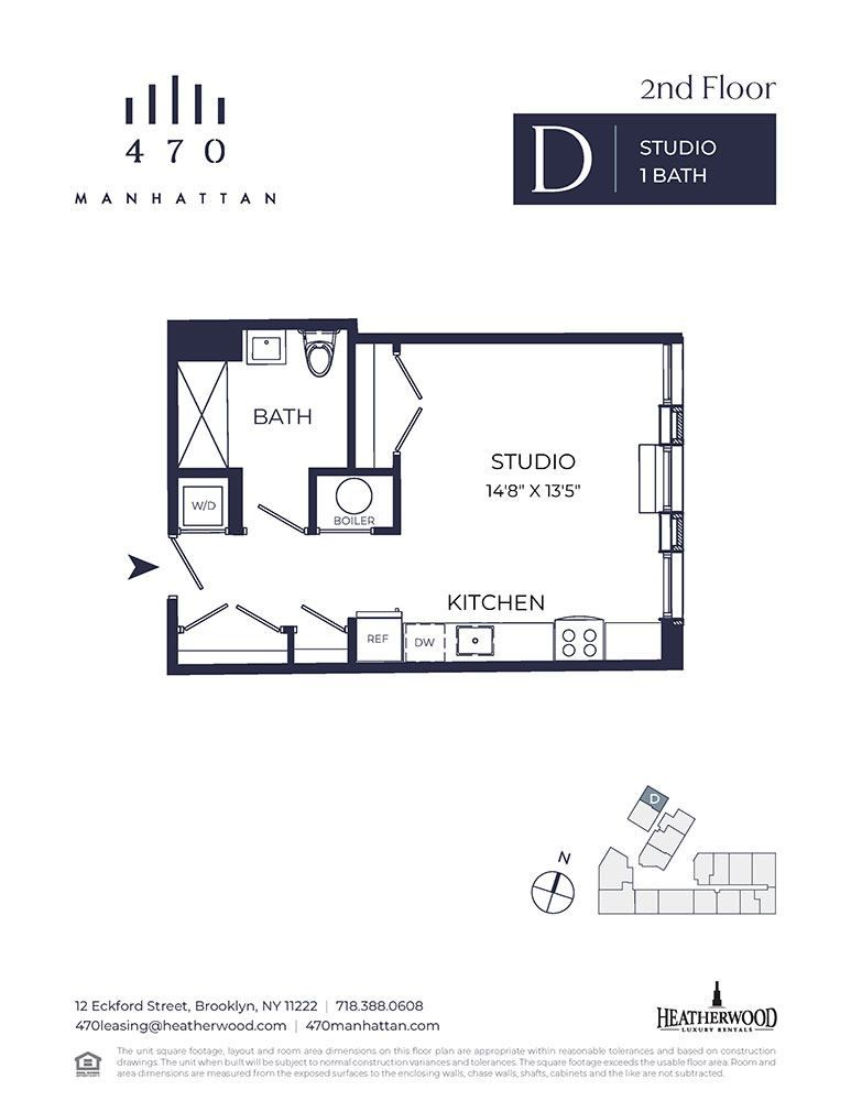 Unit 2D - Studio. 496 Sq. Ft at 470 Manhattan, New York