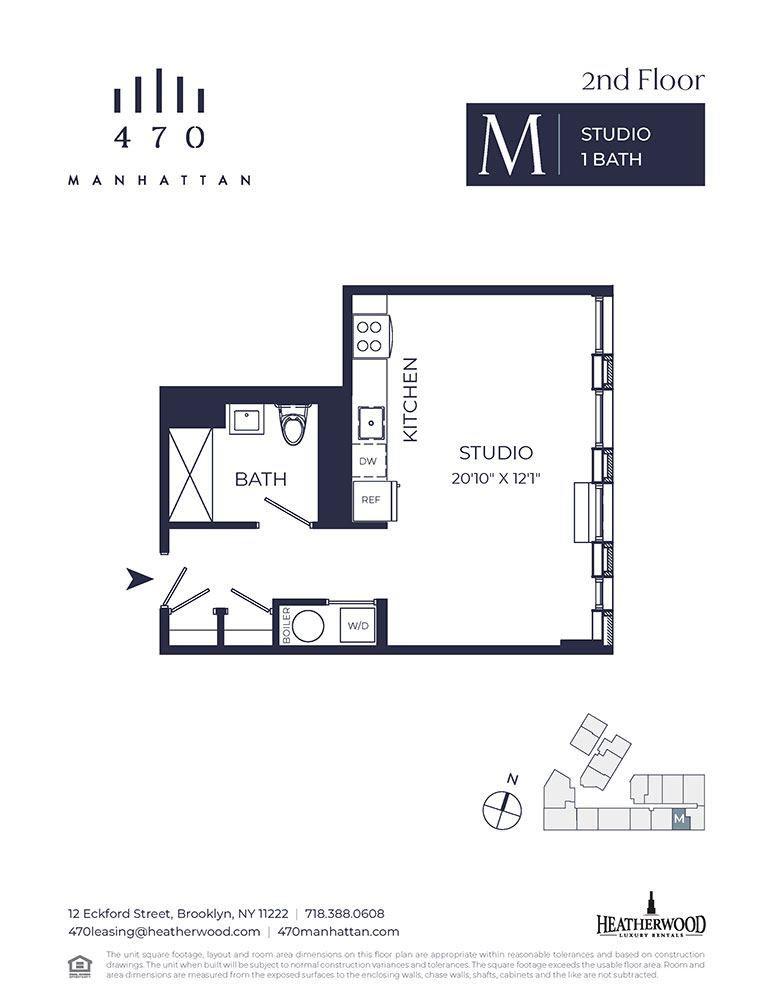 Unit 2M - Studio. 506 Sq. Ft at 470 Manhattan, Brooklyn