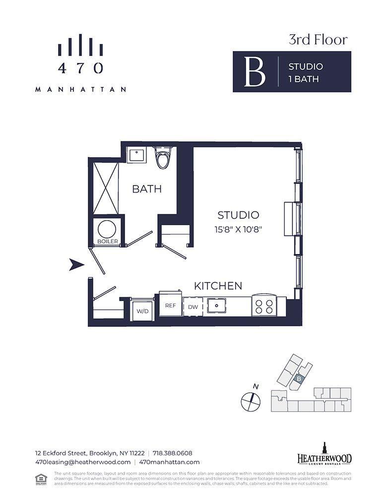 Unit 3B - Studio. 422 Sq. Ft at 470 Manhattan, Brooklyn, New York