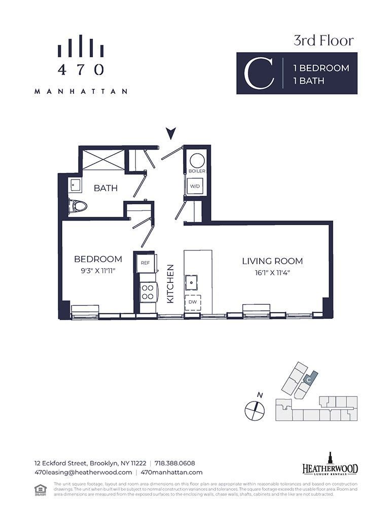Unit 3C - 1 Bedroom. 640 Sq. Ft at 470 Manhattan, Brooklyn, NY, 11222