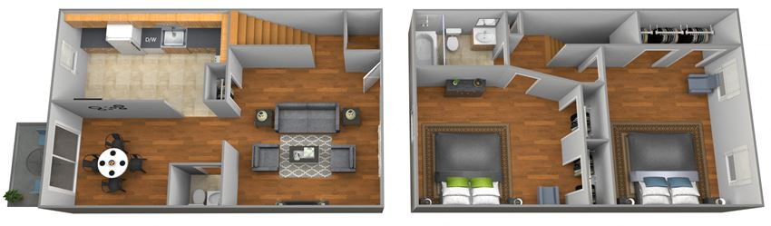 2 bedroom 1.5 bathroom floor plan at Colony Hill Townhomes