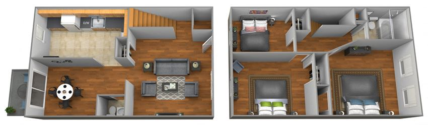 3 bedroom 1.5 bathroom floor plan at Colony Hill Townhomes
