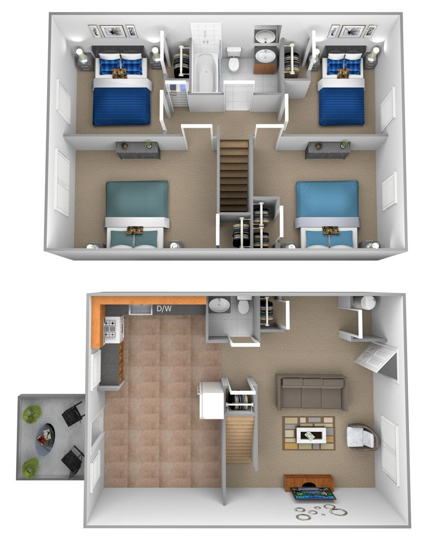 4 bedroom 1.5 bathroom 3D floor plan at Orchards at Severn Townhomes in Severn, MD