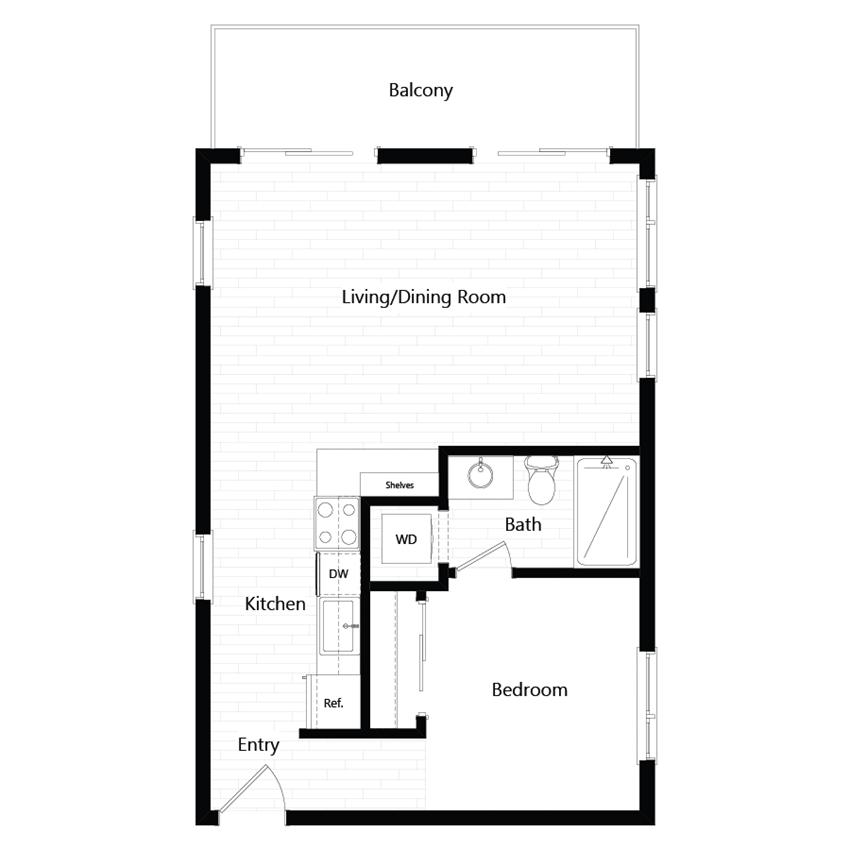 Chroma Apartments Urban One-Bedroom