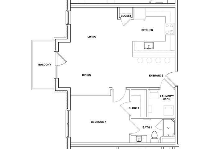 Cabasa 1 Bed 1 Bath Floor Plan at River Point West Apartments, Elkhart, IN