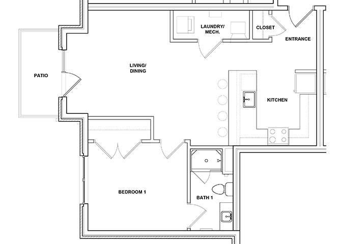 Maraca 1 Bed 1 Bath Floor Plan1 Bedroom 1 Bathroom Floor Plan at River Point West Apartments, Elkhart, 46516
