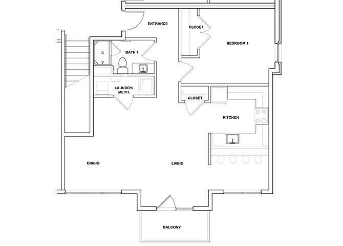 Trumpet 1 Bedroom 1 Bathroom Floor Plan at River Point West Apartments, Elkhart, 46516