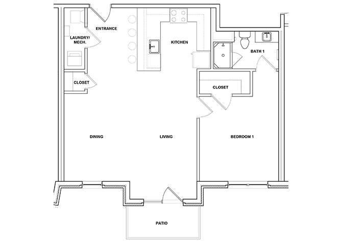 Trombone 1 Bedroom 1 Bathroom Floor Plan at River Point West Apartments, Elkhart