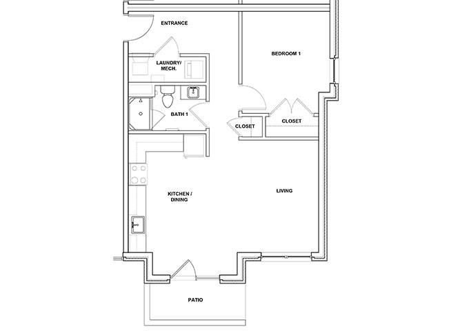 Saxophone 1 Bedroom 1 Bath Floor Plan at River Point West Apartments, Indiana