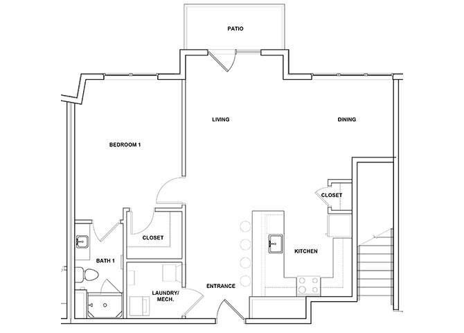 Santur 1 Bedroom 1 Bath Floor Plan at River Point West Apartments, Elkhart, IN