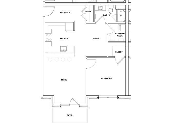 Cornet 1 Bed 1 Bath Floor Plan at River Point West Apartments, Elkhart, IN