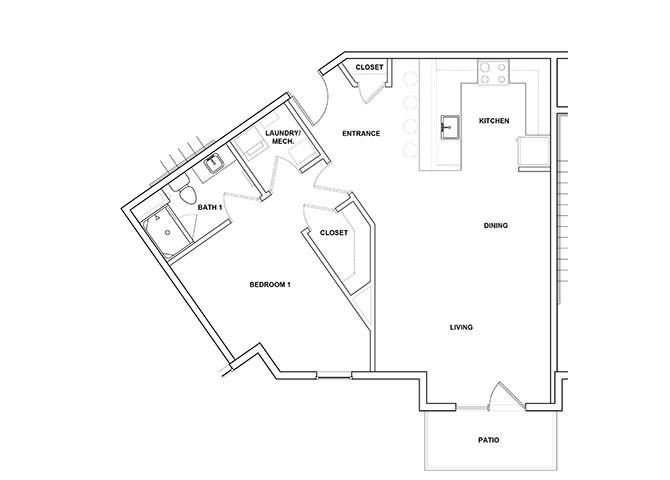 Zither 1 Bedroom 1 Bathroom Floor Plan at River Point West Apartments, Elkhart, 46516