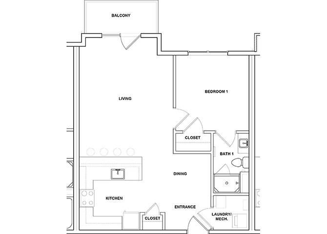 Marimba 1 Bed 1 Bath Floor Plan at River Point West Apartments, Elkhart, Indiana