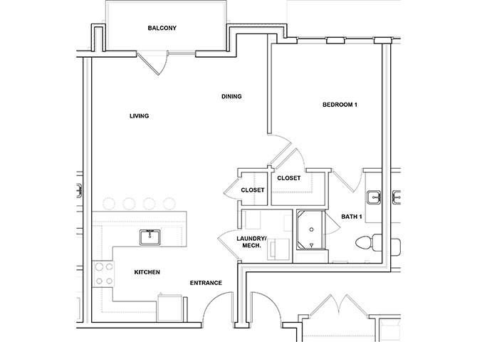 Piccolo 1 Bed 1 Bath Floor Plan1 Bed 1 Bath Floor Plan at River Point West Apartments, Elkhart