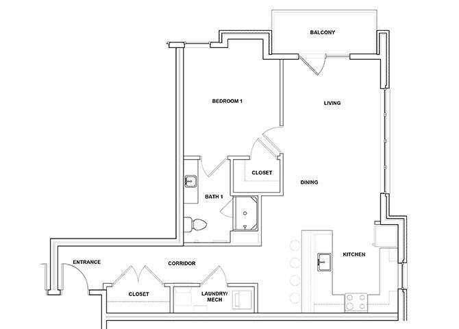 Dulcimer 1 Bed 1 Bath Floor Plan at River Point West Apartments, Indiana, 46516