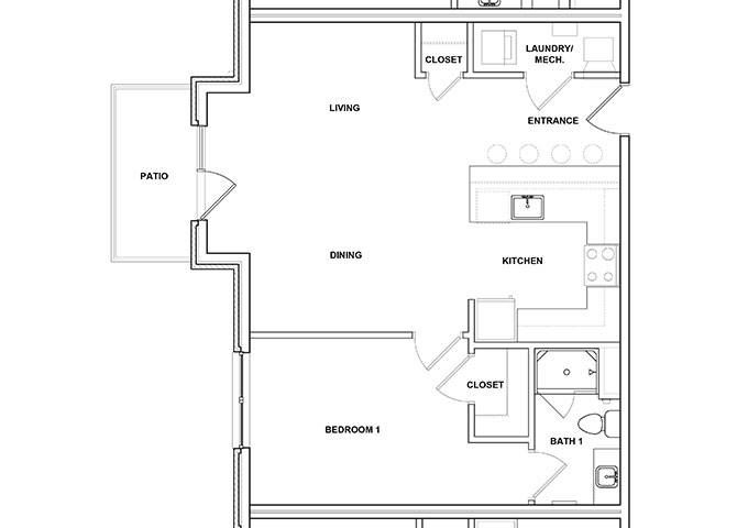 Guitar 1 Bed 1 Bath Floor Plan at River Point West Apartments, Elkhart, IN