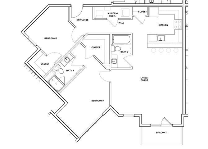 Bassoon 2 Bedroom 2 Bathroom Floor Plan at River Point West Apartments, Indiana