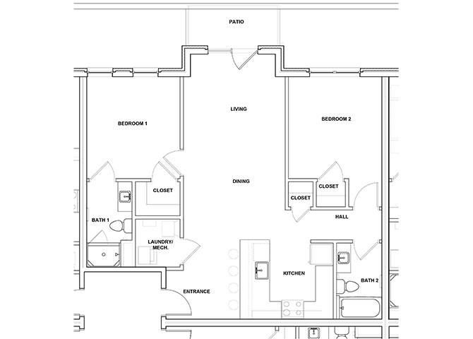 Viola 2 Bed 2 Bath Floor Plan at River Point West Apartments, Elkhart, Indiana
