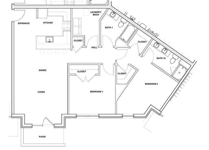 Tympani 2 Bedroom 2 Bathroom Floor Plan at River Point West Apartments, Elkhart