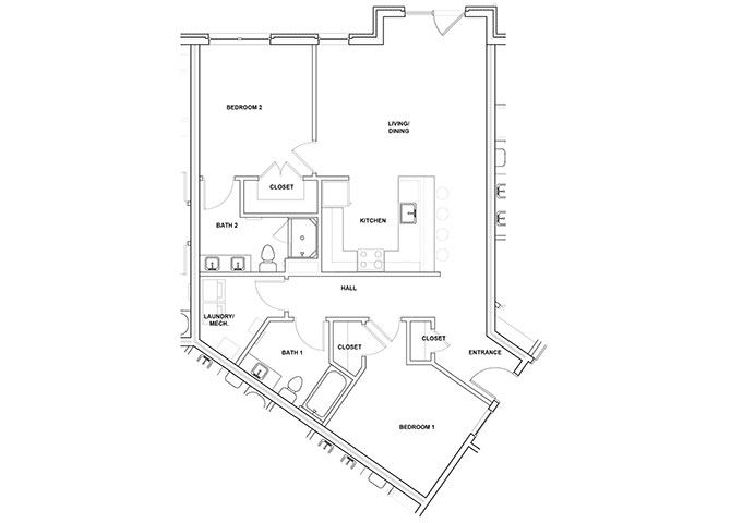 Oboe 2 Bed 2 Bath Floor Plan at River Point West Apartments, Indiana
