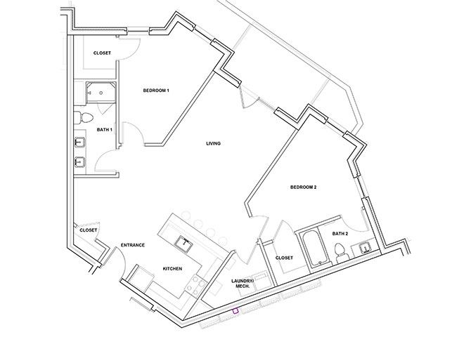 Piano 2 Bedroom 2 Bathroom Floor Plan at River Point West Apartments, Indiana, 46516