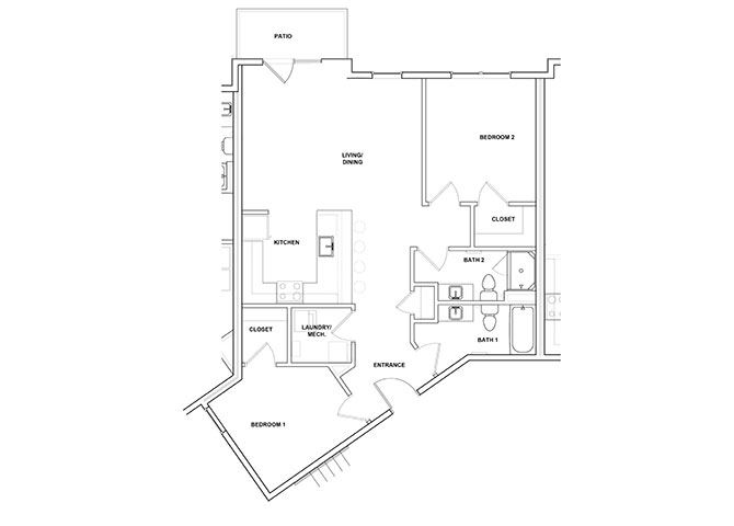 Violin 2 Bed 2 Bath Floor Plan at River Point West Apartments, Elkhart, Indiana