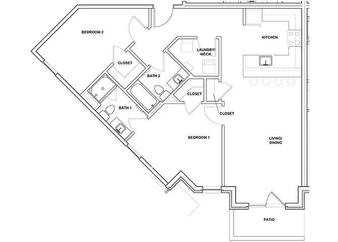 Harp 2 Bed 2 Bath Floor Plan at River Point West Apartments, Elkhart, IN, 46516