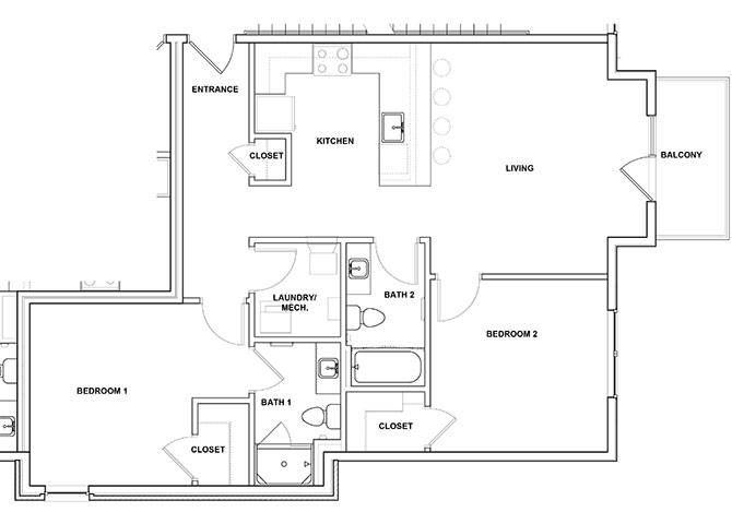 Mandolin 2 Bedroom 2 Bathroom Floor Plan at River Point West Apartments, Elkhart, IN