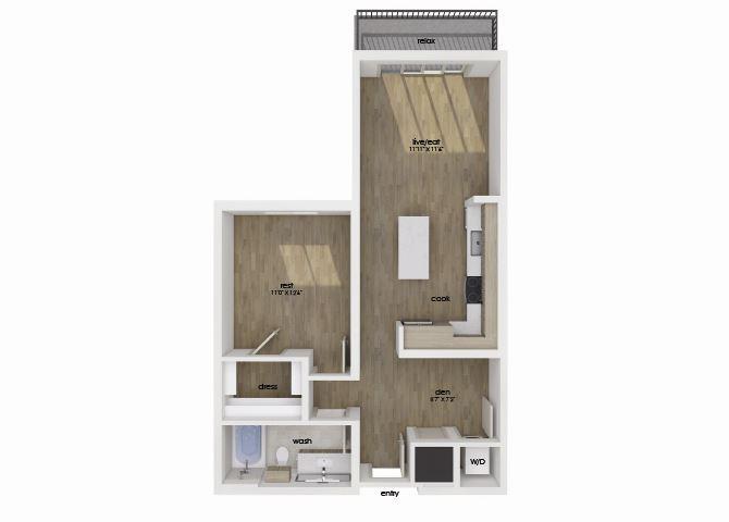 One bedroom one bathroom floorplan at Morea Apartments in Pompano Beach, FL
