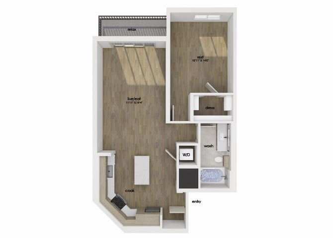 One bedroom one bathroom floorplan image at Morea Apartments in Pompano Beach, FL