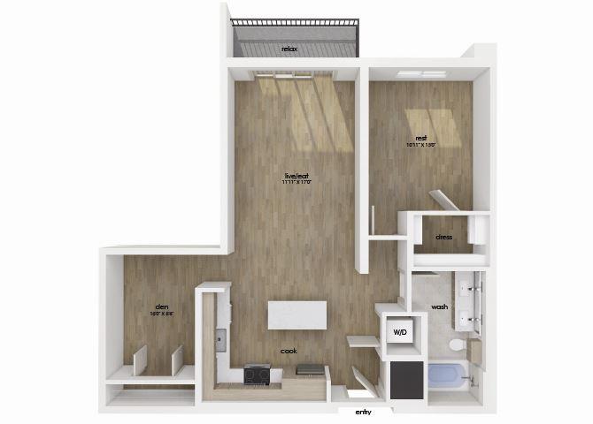 One bedroom one bathroom floor plan image at Morea Apartments in Pompano Beach, FL