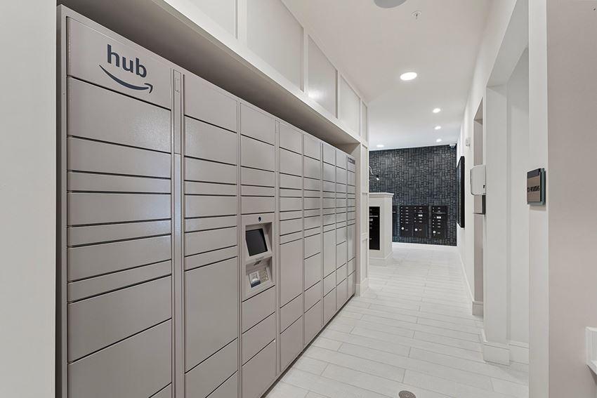 Amazon hub lockers at The Reid in Tucker GA