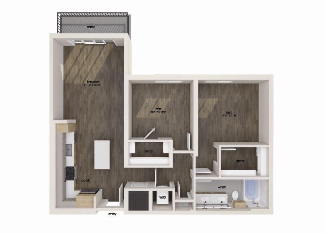 Two bedroom one bathroom floor plan image at Morea Apartments in Pompano Beach, FL