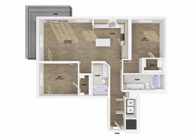 Two bedroom two bathroom floor plan image at Morea Apartments in Pompano Beach, FL