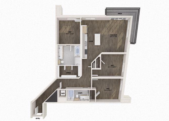 Three bedroom two bathroom floor plan image at Morea Apartments in Pompano Beach, FL