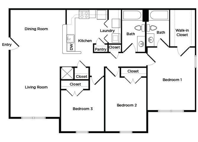 Three bedroom Floorplan image at England Run North Apartments in Fredericksburg, VA