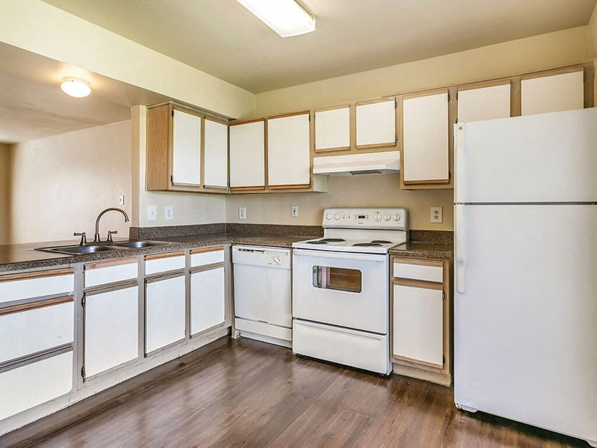 Kitchen cabinets at Paradise Oaks Apartments in Austin TX