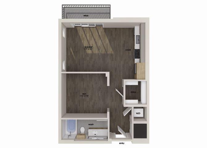 Studio floor plan image at Morea Apartments in Pompano Beach, FL